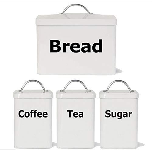 Waofe Satz Von 4 Küchenetiketten Aufkleber Aufkleber, Tee Kaffee Zucker Brot Jar Bin Kanister Vinyl Aufkleber Aufkleber Für Die Küche -