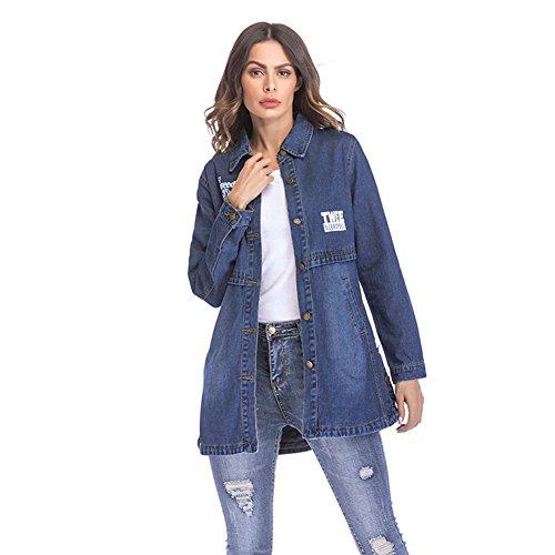 HUAN Übergroße Beunruhigte Denim-Jacke der Frauen, Mädchen Jean-Jacken-Lange Hülsen-Denim-Jacken-Damen-zufälliger Denim-Mantel Gewaschen mit (Farbe : Blau, Größe : XXL)