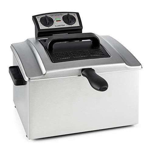 Klarstein QuickPro XXL 3000 - Friteuse, 3000 W, Grand volume 5 L, 1,5 kg max. de friture, Jusqu'à 190 °C, Réglable en continu, 3 paniers, Minuterie, Couvercle avec hublot, Argent
