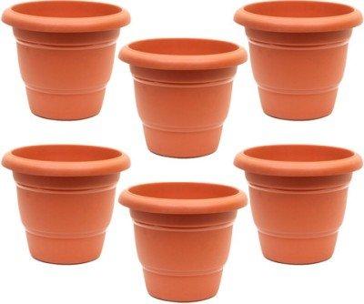 Minerva Naturals - 8'' Plastic pot for garden ( PACK OF 6)