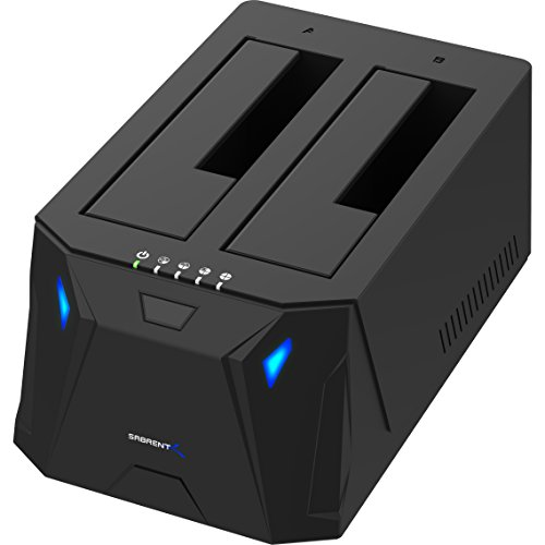 Sabrent Festplattengehäuse (USB 3.0zu SATA I/II/III Dual Bay externe Festplatte Dockingstation für 2,5oder 3,5in HDD, SSD mit Festplatte Duplikator/Cloner Funktion, [10TB Unterstützung] (ec-hd2b)