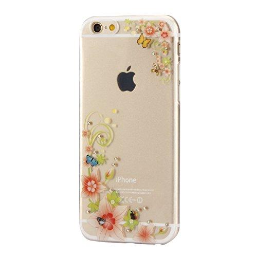 Coque Housse Etui pour iPhone 6, Coque pour iPhone 6s, iPhone 6 Coque Etui en Silicone, iPhone 6s Coque Etui en Silicone, iPhone 6 Silicone Case TPU Cover, Ukayfe Etui de Protection Cas en caoutchouc  Diamant-papillon fleur