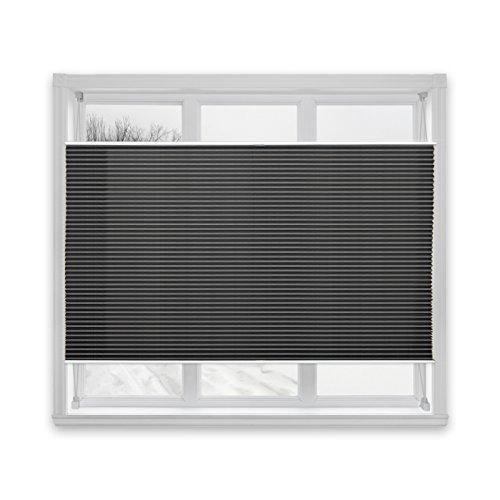 casa pura® Plissee Rollo | mit eleganter Crushed Optik | Klemmfix ohne Bohren | lichtdurchlässig & blickdicht | schwarz | viele Größen (65x100cm)