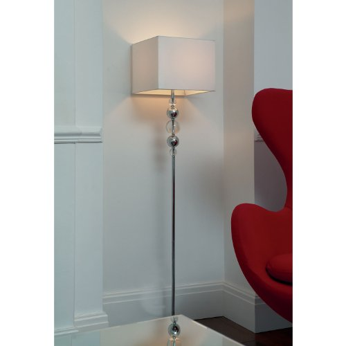Endon Lighting Greco - Floor Lamp - Chrome & Crystal Spheres, Square Faux Silk White Shade