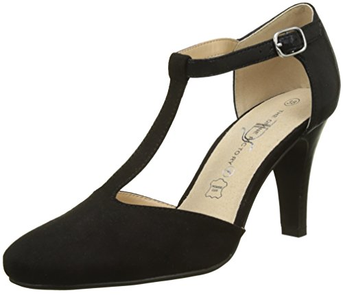 The Divine Factory Damen Bastina T-Spangen Pumps, Schwarz (Noir), 38 EU