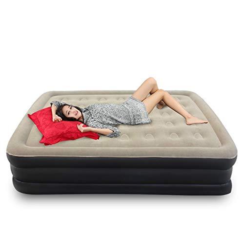 Queen-Size Luftmatratze - aufblasbare Luftmatratze mit Pumpe für Camping oder Gästebett, Beflockung, PVC