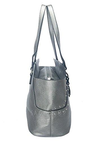Borsa donna Marina Galanti modello a spalla con borchie e tracolla removibile Argento