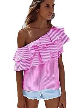 Irina007Moda Mujeres Sueltas Un Hombro Tops Blusa Camisa De Verano De Rayas Casuales Camiseta