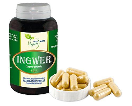 VEGAN Ingwer 60 vegi Kapseln, je 500mg rein natürliches Pulver, ohne Zusatzstoffe