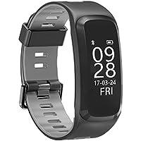 Kxcd Activity Tracker cardiofrequenzimetro, fitness tracker F4intelligente Wristband impermeabile Bluetooth Smartband chiamata promemoria sincronizzato notifiche contapassi Fashion design orologio sportivo, black+black