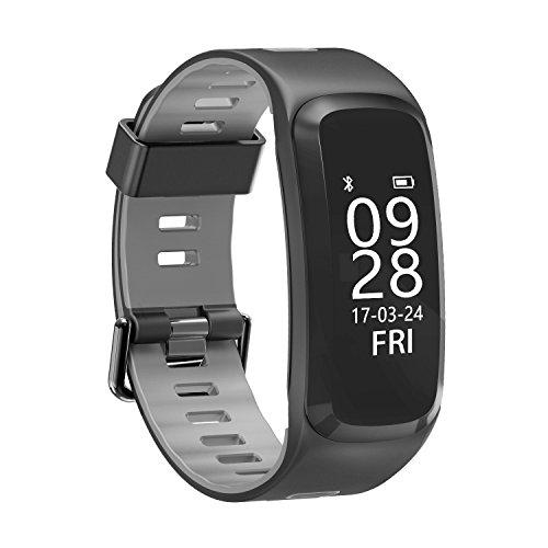 sochange F4, Fitness Tracker, pashion Bluetooth 4.0Herzfrequenz-Monitor Smart Watch, Schritt zu Fuß schlafen Zähler Wireless Armband Schrittzähler, wasserdicht, Sport-Armband für iOS- und Android-System, grau