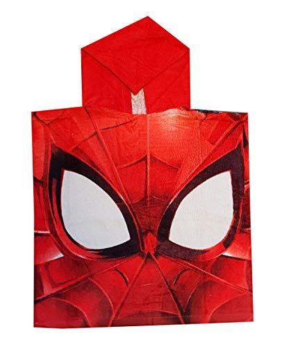 Beliebte Kostüm Mädchen Kleinkind - Marvel Spider-Man Bade-Poncho mit Kapuze aus 100% Baumwolle, Verschiedene Motive für Kinder, One Size (Rot)