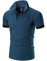 Juqilu Polo de los Hombres Camisetas Clásicas del Polo de la Manga Corta del Tamaño Extra Grande Camisetas Top del Bordado de la Jirafa del…