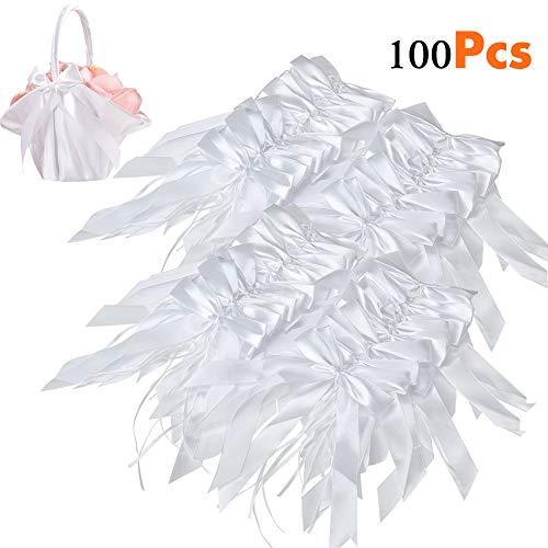 100 Pcs Lazos De Blanco Satén Decoraciones Boda Cinta