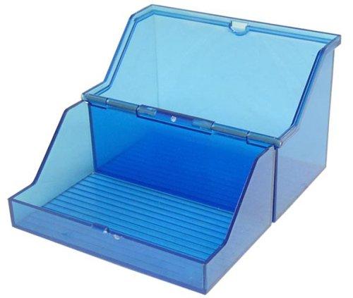 helit petit boîtier translucide pour fiches, format A7 a l'italienne, bleu, non equipe, en design translucide, pour 300 fiches environ, en polystyrene, dimensions: (L)120 x (P)73 x (H)94 mm (H6904730)