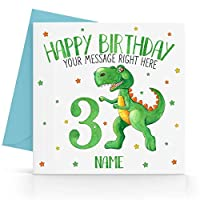Personalised Boys Green Dinosaur Birthday Card Any Age, Relative & Message