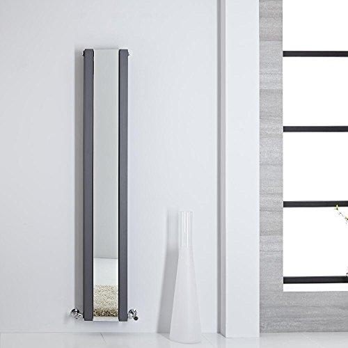 Hudson Reed Heizkörper Sloane - Vertikaler Design-Heizkörper aus Stahl in Anthrazit - 1600 x 265 mm - Doppellagig mit Spiegel