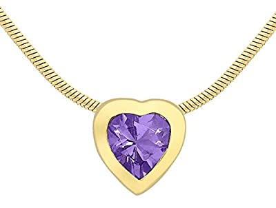 Carissima Gold 9 ct Yellow Gold Heart Amethyst Pendant on Snake Chain of 41 cm/16 inch
