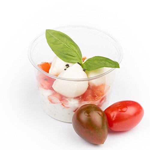 100 x edle Einwegbecher 120 ml | kompostierbar & umweltfreundlich | stabil & transparent | Bio Einweg-Geschirr | perfekt als Finger-Food Snack-Schalen, Dip-Schalen oder Dessert-Becher aus natur PLA