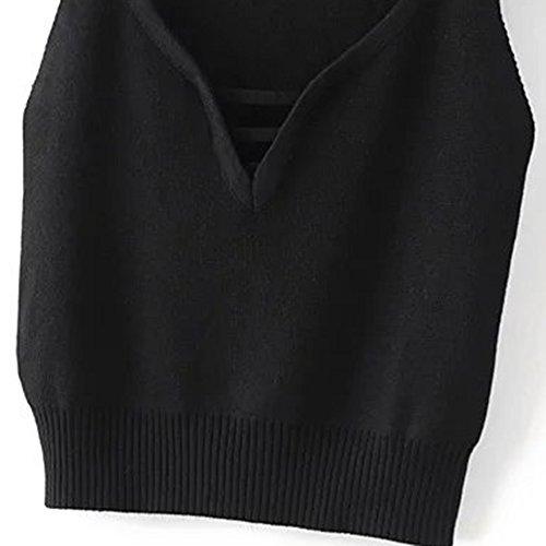 Femme Chandail Tops Débardeur Pull en Jersey T-Shirt Sans Manches Knitting Blouse Noir