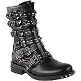 Damen Ankle Boots im Biker-Stil - mit Nieten, Riemen & Schnallen - flach - Schwarz Kunstleder - EUR 40