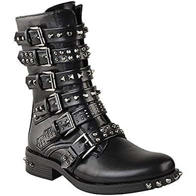 Outlet-Verkauf San Francisco Verkauf Einzelhändler Damen Ankle Boots im Biker-Stil - mit Nieten, Riemen & Schnallen - flach