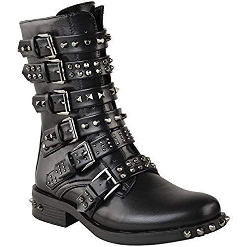 Damen Ankle Boots im Biker-Stil - mit Nieten, Riemen & Schnallen - flach - Schwarz Kunstleder - EUR 38