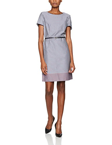 ESPRIT Collection Damen Kleid 047EO1E013, Mehrfarbig (Grey Blue 420), 40