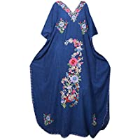 Mogul Interior Women Kaftan Dress Blue Embellished Lounge Wear Caftan OneSize