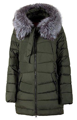 Damen Winterjacke Frisky mit Echtfellbesatz an der Kapuze schwarz (Länge ca.90 cm) (52, Khaki)