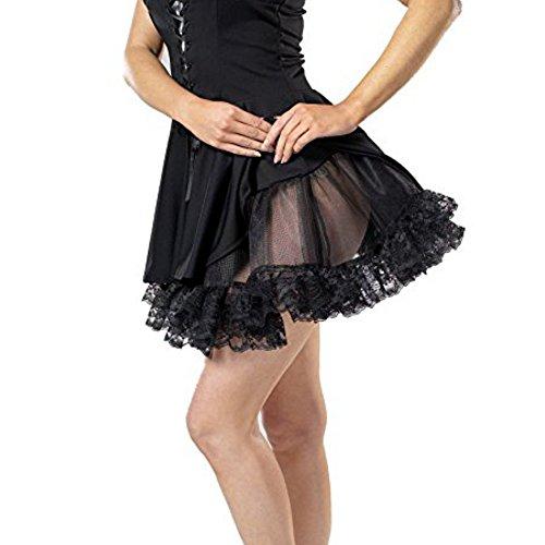 Charades Lace Petticoat Spitzen Tutu Unterrock Damen Rock Fasching Halloween Karneval Schwarz, Einheitsgröße