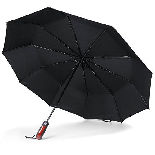 JETZT NEU - Regenschirm Taschenschirm, windsicher bis 140 km/h, Leicht & Kompakt, klein Reiseregenschirm für Männer und Frauen, Stabiler Schirm mit voll-automatischer Auf-Zu-Automatik, (Schwarz)