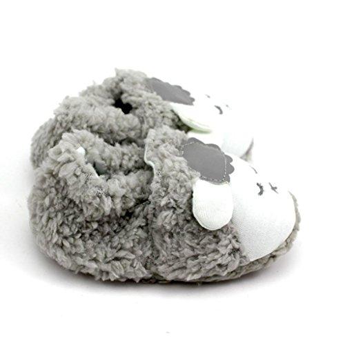 HuntGold 1 Paar Baby Kind Kleinkind Prewalker Nette Schafe Weiche Koralle Samt warme Schuhe Grau