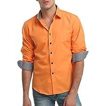 Amazon uomo Arancione it bianca camicia FwxxqSXgY