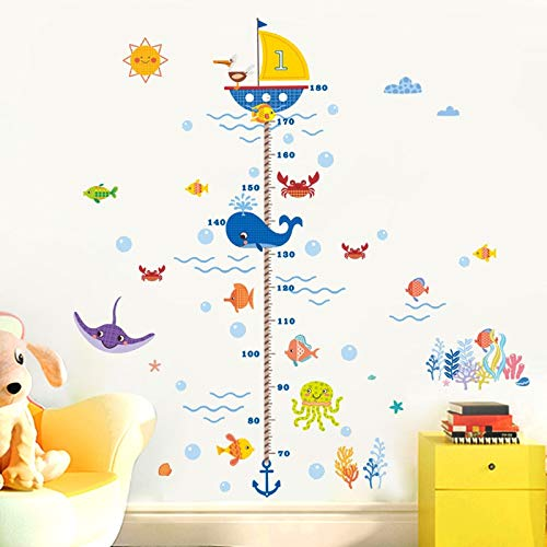 Nursery Height Growth Chart Wall Sticker Kids Boys Girls Underwater Sea Fish Anchor Finding Nemo Decorative Decor Decal Poster (Nemo Thema Finding)
