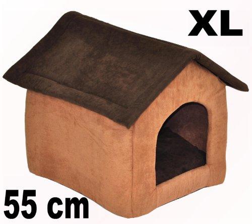 nanook Hunde-Höhle Katzen-Höhle CHALET JOKER, für Hunde und Katzen, Größe M (55 x 52 cm), Wildleder-Optik, dunkelbraun, braun