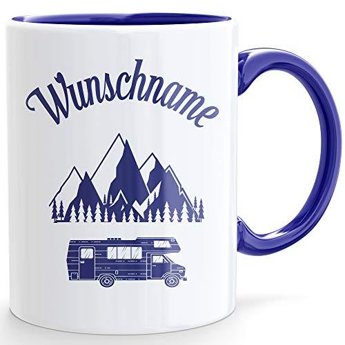 Beschdstoff / Campingtasse * Personalisiert/Name * mit Wohnmobil Motiv Größe 330ml in Blau oder Rosa, Beidseitig Bedruckt mit Wunschname (Blau)