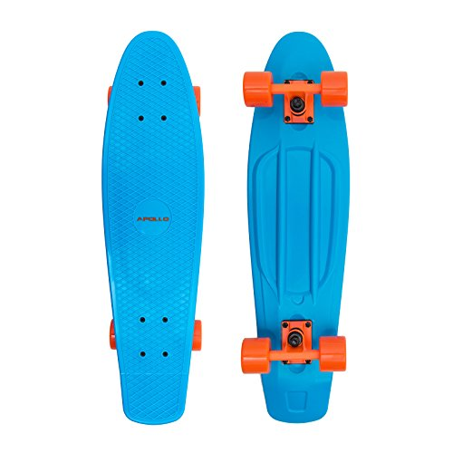 Apollo Fancy Skateboard, Vintage Mini Cruiser, Komplettboard, 28 inch (71,1 cm), Mini-Board mit Kunstsoff Deck, Farbe: Blau/Orange