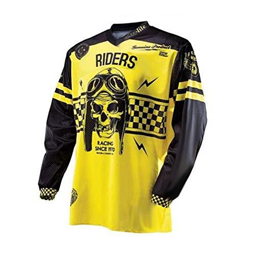 GEETAC Herren Radtrikot, Herren Langarm Mountainbike Trikot Shirts Langarm Rennrad Bekleidung MTB Tops Outdoor Sportbekleidung Schädel,Gelb,L -