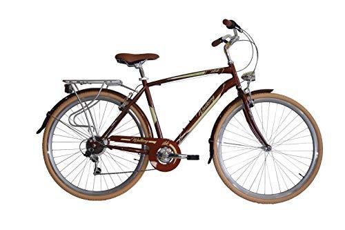 IBK Bici Bicicletta City Bike da Città Uomo Misura 28' 700x38 Modello Walking Accessori Alluminio (Marrone)
