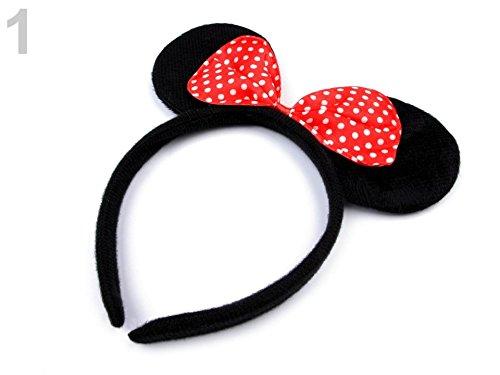 Haarreifen mit Minnie Mouse Ohren und Schleife – Mickey Mouse Mini Maus Haarband – ZADA Beauty (Rot)