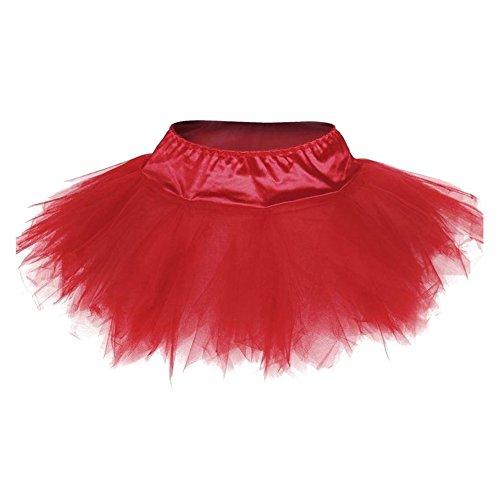 Mini jupe TuTu femme rouge blanc noir Jupes en maille fantaisie hibote Adulte Petticoat Fit Corset Rouge