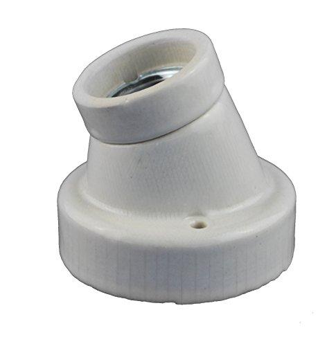 Keramikfassung / Porzelanfassung abgewinkelt Deckenfassung mit E27 Gewinde für Glühbirnen / LED mit E27 Gewinde