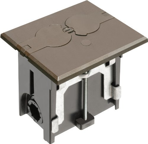 Arlington FLBAF101BR-1 Adjustable Floor Box Kit with Outlet and Flip Plate, for Installed Floors, 1-Gang, Brown, by Arlington Industries
