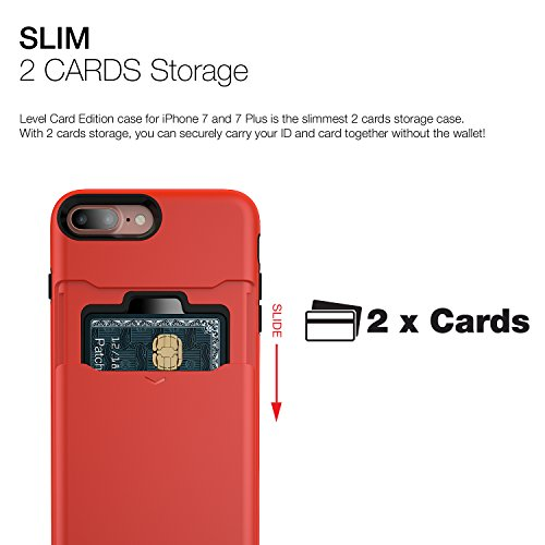 Patchworks Level Card Edition iPhone 8 Plus / 7 Plus Hülle für iPhone 8 Plus / 7 Plus Hülle, iPhone 8 Plus / 7 Plus Schutzhülle - Military Grade Certified Drop Protection, iPhone 8 Plus / 7 Plus Case, Red