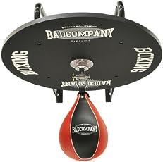 Profi Speedball Plattform Set inkl. Drehkugellagerung schwarz und PU Boxbirne medium schwarz / rot - Boxapparat für die Wandmontage