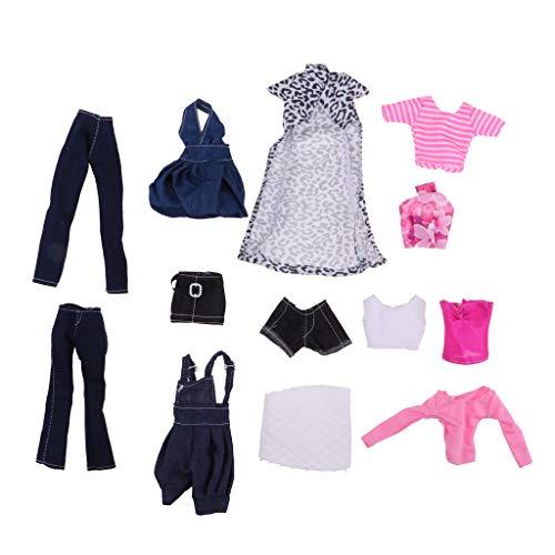 D DOLITY 3/5/6/8/14 Sätze Schöne Sortiert Hochzeit Puppenkleider Prinzessin Kleidung Kleider Hosen Rock Puppenbekleidung für 11,5 Zoll Barbie Puppe - 6 Sets / Pack