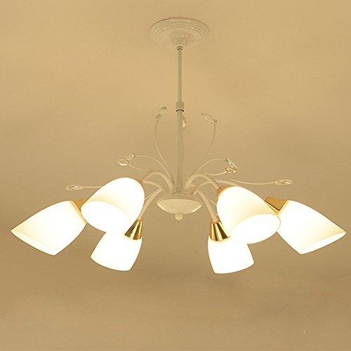 6 Licht Kristall Kronleuchter Weiß Decke Anhänger Licht Eisen Fertig Glas Licht Schatten mit 6 * E27 Glühbirne Kronleuchter Deckenleuchten für Wohnzimmer Esszimmer Schlafzimmer Küche Cafe Bar Ø65CM - Decke Anhänger Fertig