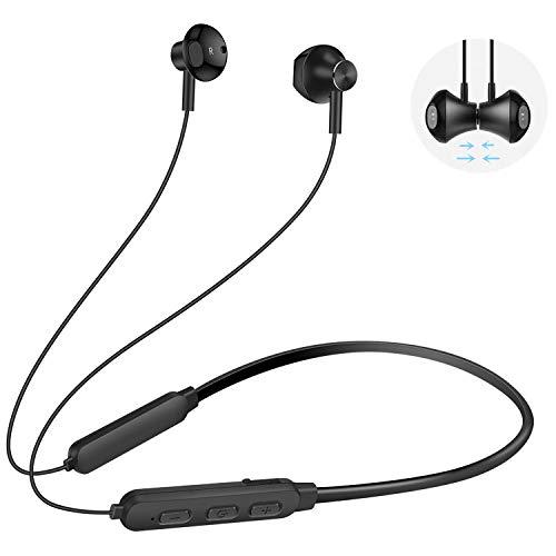 Kabellos v5.0 Magetisch HD Stereo Wireless Headset 8 Stunden Spielzeit, IPX6 Schweißfeste Sport Ohrhörer mit Mikrofon Kompatibel iPhone iPad &Android Bluetooth-Gerät (Schwarz) ()