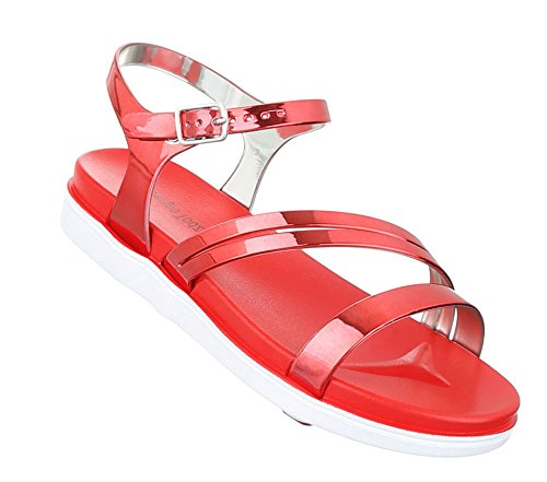Damen Sandalen Schuhe Strandschuhe Sommerschuhe Riemchen Rot nPQeDg0Ii3